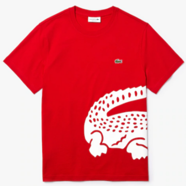 Lacoste Crocodile Print Red/White Crew Neck T-shirt TH5139
