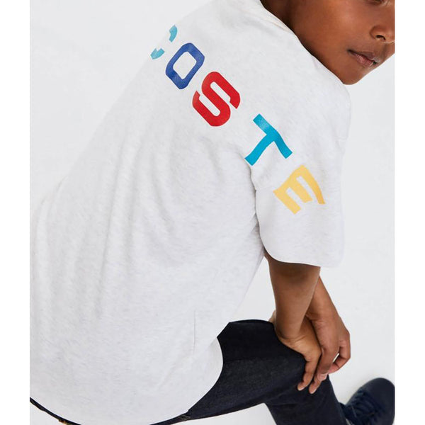 LACOSTE Multicoloured Signature Print Grey Chin/Red Boys Crew Neck T-shirt TJ4877