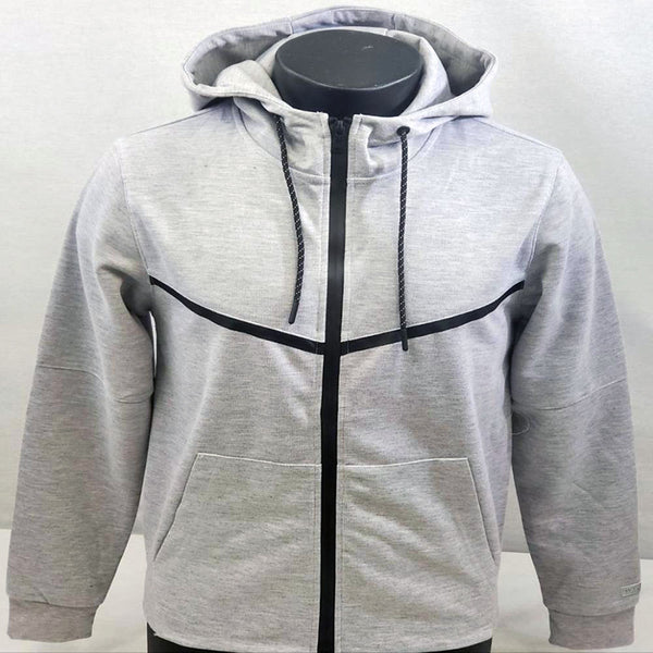 WT02 Heather Grey Men Tech Fleece Zip Up Hoodie 19391-1541