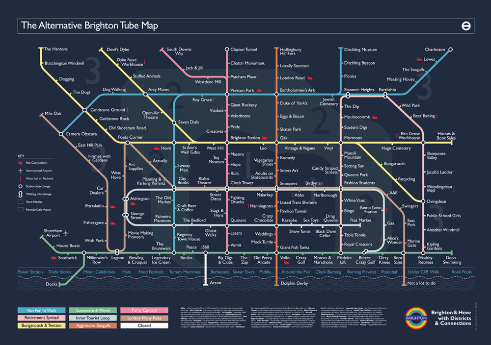 The Alternative Brighton Tube Map 2018. Open edition signed by the artist J David Bennett.