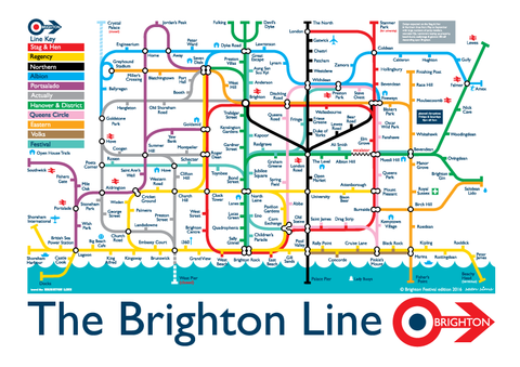 Brighton map in tube style , sean sims in A3 size