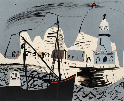 Newhaven Harbour and Cliff, Sussex By John Piper