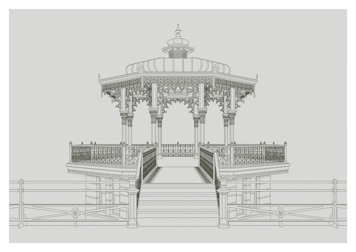 """The Brighton Bandstand "" A3 Landscape Image with a Grey background - LEOFRAMES"