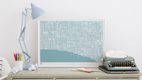 Brighton Type Map (Norfolk Blue) By Bold & Noble - LEOFRAMES