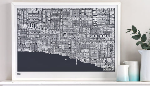 Brighton Type Map (Slate)  By Bold & Noble - LEOFRAMES