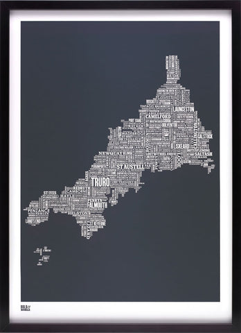 Cornwall type map  (Sheer slate) - LEOFRAMES