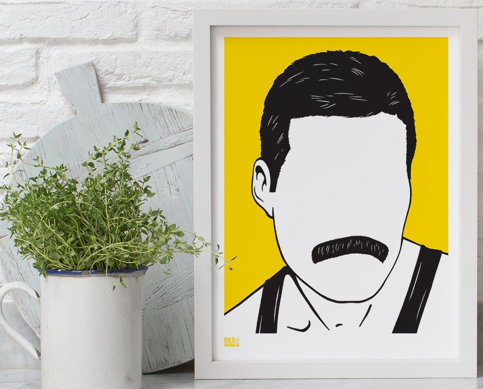 Freddie Mercury screen print by Bold & Noble