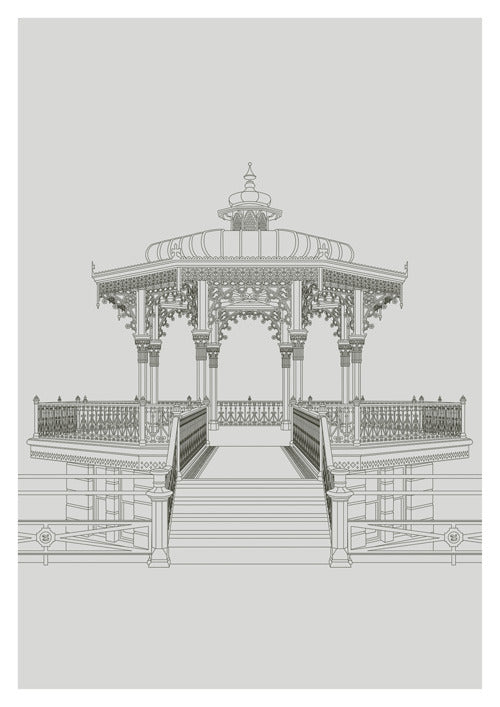 """The Brighton Bandstand "" A3 Portrait Image with a Grey background - LEOFRAMES"
