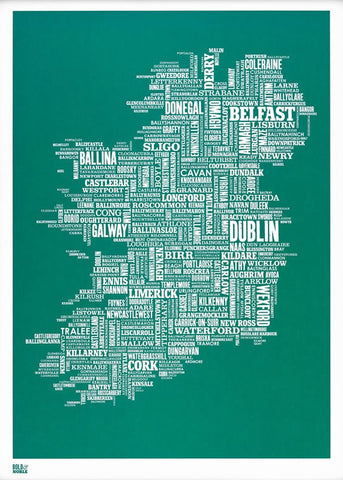 Ireland type map  (Deep sea green),Bold and Noble