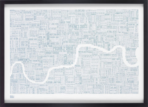London type map  (Duck egg blue),Bold and Noble