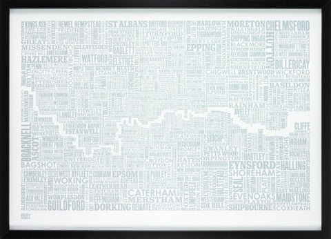 London and beyond Type Map in Duck Egg Blue - LEOFRAMES