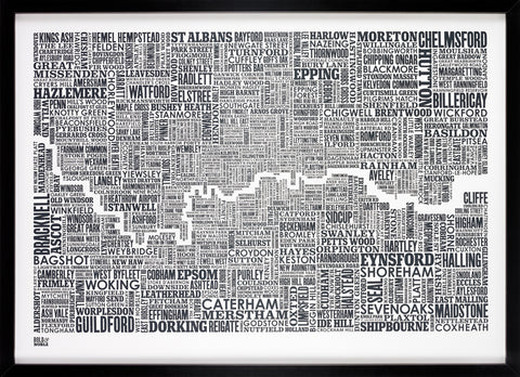 London and beyond Type Map in Sheer Slate - LEOFRAMES