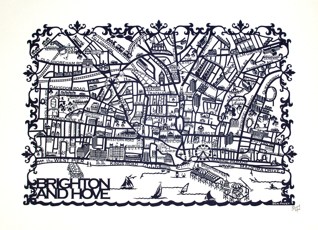 Brighton & Hove Map Limited Edition  By Ben Pavey - LEOFRAMES
