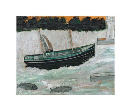 Alfred Wallis - Lighthouse with Trawler and Fish - LEOFRAMES