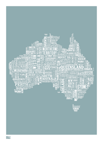Australia type map  (Duck egg blue) - LEOFRAMES