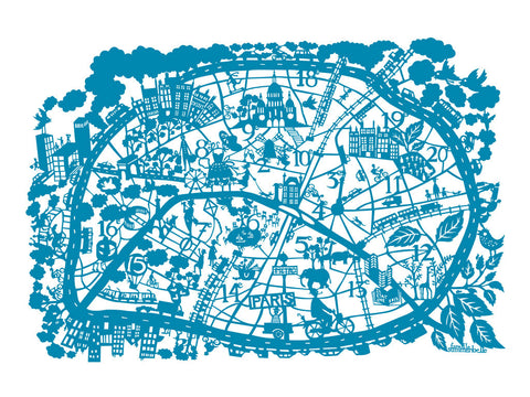 Paris Map (Cerulean Blue ) By Famille Summerbelle