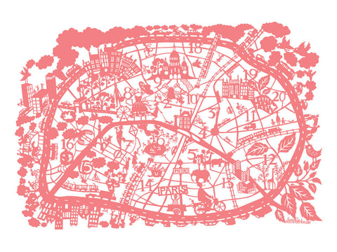 Paris Map (Pink) By Famille Summerbelle