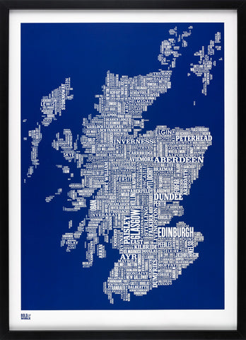 Scotland Type Map (Reflex Blue) Bold & Noble