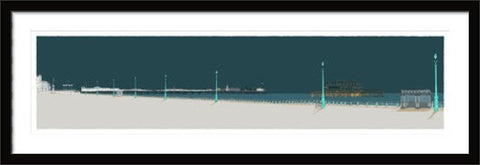 Hove Esplanade and Two Piers By Alej ez black frame
