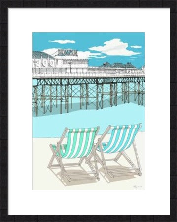 Deckchairs and brighton pier By Alejandro - LEOFRAMES