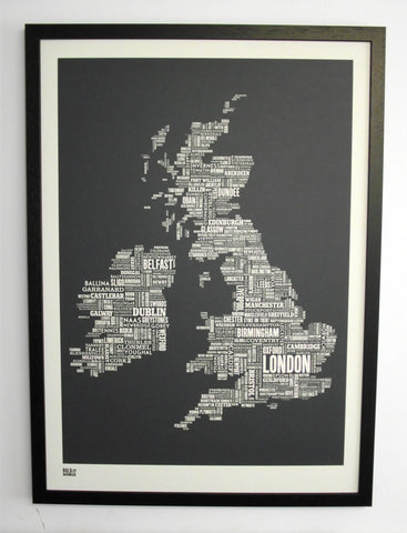 Uk Grey framed in Black