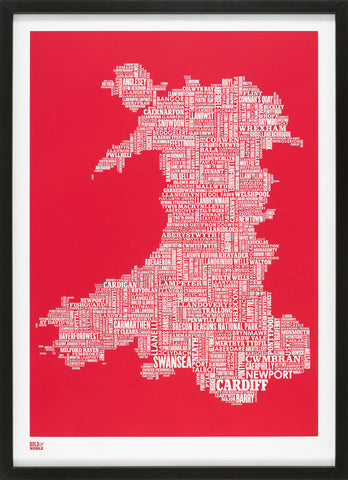 Wales Type Map (Poppy Red) Bold & Noble