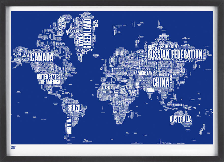 World Type Map in Reflex Blue,Bold and Noble - LEOFRAMES
