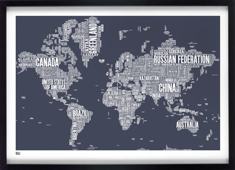 World Type Map in Sheer Slate,Bold and Noble - LEOFRAMES
