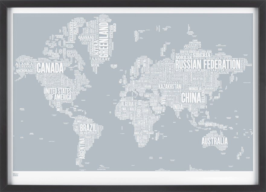 World Type Map in Warm Grey,Bold and Noble - LEOFRAMES