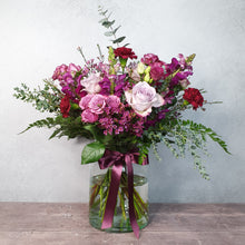 Load image into Gallery viewer, Crimson Pink Vase of Flowers