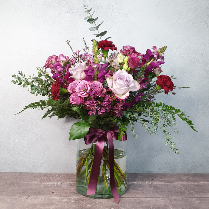 Crimson Pink Vase of Flowers