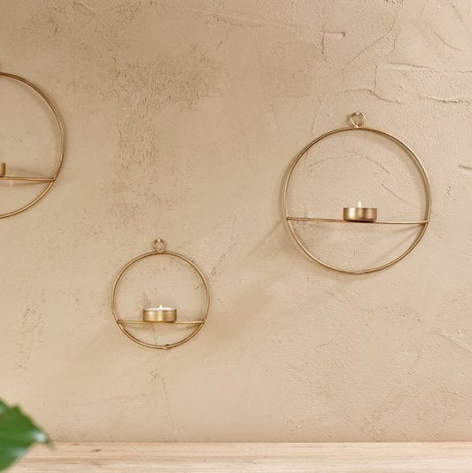 Nkuku Medium Derwala Wall Hung T Light holder - Antique Brass