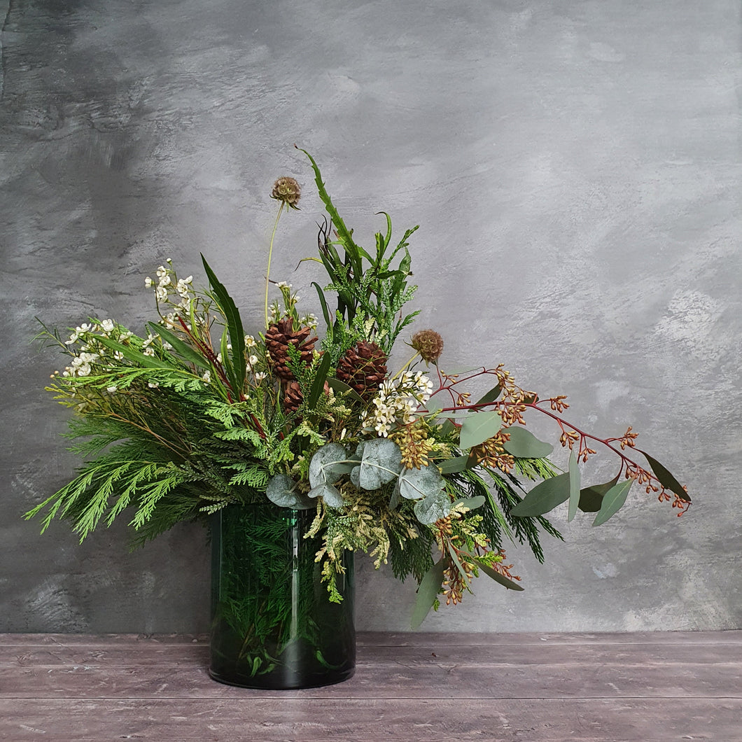 Winter Evergreen, Waxflower & Pine Cone Wrap