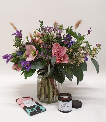 Fragrant Floral Trio- posy vase, candle & chocolate