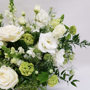 Detail of Ivory Vase of Flowers, classic whites & greens from Snapdragon Edinburgh