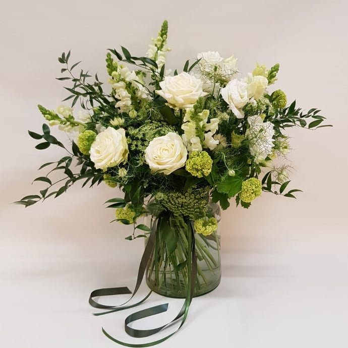 Ivory Vase of Flowers, classic whites & greens from Snapdragon Edinburgh