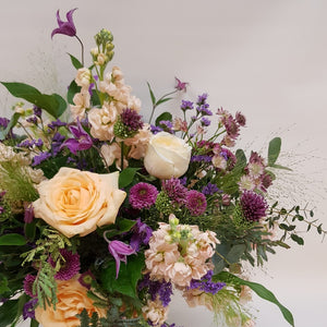 Detail of Peachy Plum Bouquet in apricot, pink and lilac Snapdragon Edinburgh