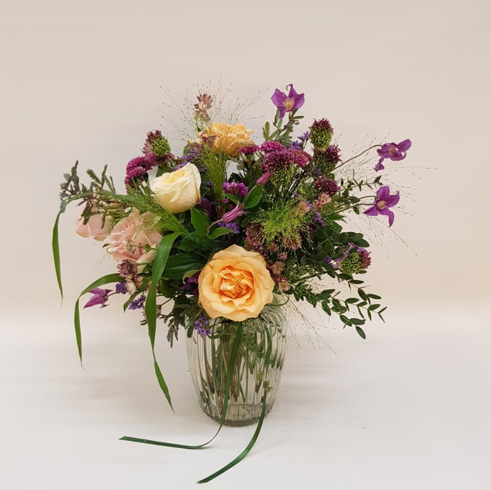 Peachy Plum Posy Jar in apricot, pink and lilac Snapdragon Edinburgh