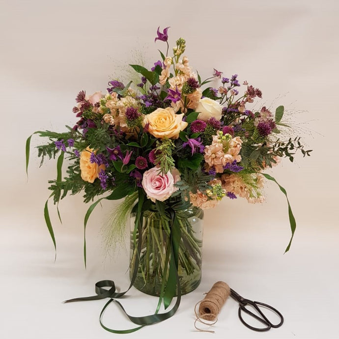 Peachy Plum Vase of Flowers in apricot, pink and plum Snapdragon Edinburgh