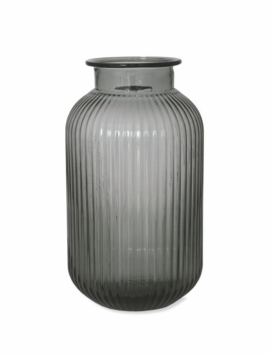 Smoke Ribbed Medium Vase