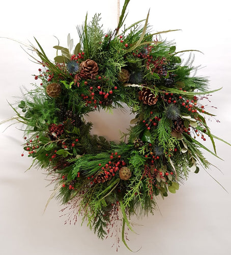 Natural Festive Christmas Wreath Snapdragon Edinburgh