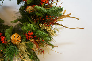 Christmas Wreath Reds Gold Natural Snapdragon Edinburgh
