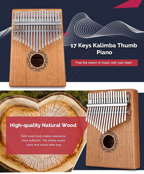 SoulWind™ Kalimba, 17-Key, Solid Mahogany, Thumb Piano - Learning Kit For Beginners