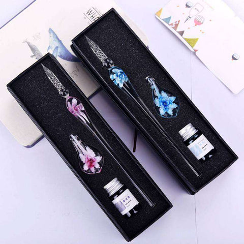 VintageArt™ Glass Pen Gift Set with Ink and Pen Rest