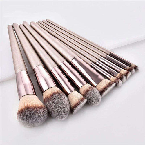 TravelChique™ 10-Piece Champagne Makeup Brush Set