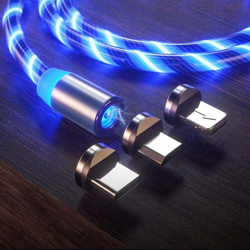 DarkNight™ Magnetic Glow LED Charging Cables - Type C, iPhone, Micro USB