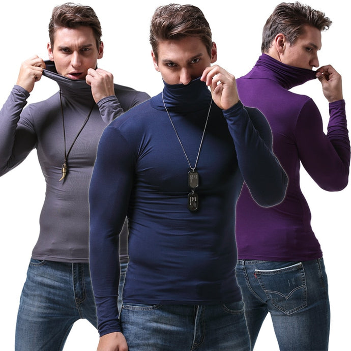 Men's Long Sleeve Slim-Fit Turtleneck
