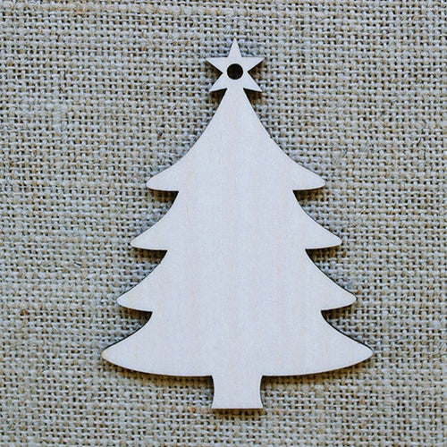 Unfinished Natural Wood Christmas Tree Ornaments [10 Pack]