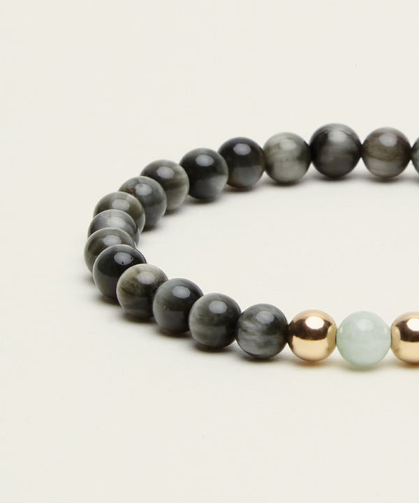 ABUNDANCE BRACELET WITH JADE, HAWK'S EYE & 14K GOLD