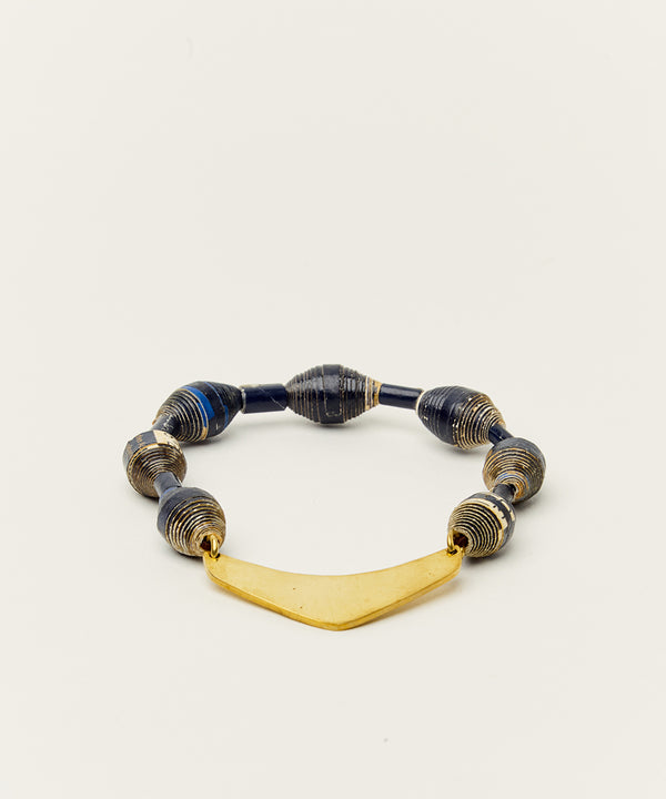 APSARA BRACELET WITH PAPER BEADS & BRASS BULLET HARDWARE